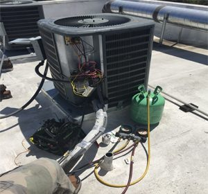 AC unit installed on roof